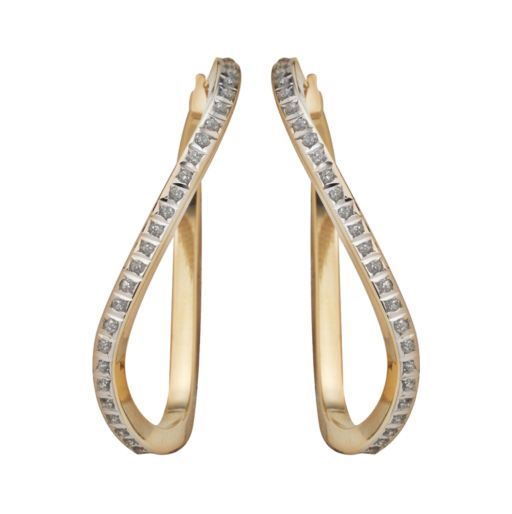 Diamond Fascination 14k Gold Diamond Accent Wavy Hoop Earrings