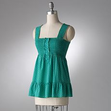 ELLE Ruffled Droplet Babydoll Top :  polka dot ruffles teal ruffled top