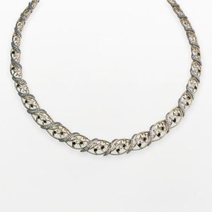 18k Gold Over Silver Diamond Accent Sapphire Graduated Marquise Filigree Necklace