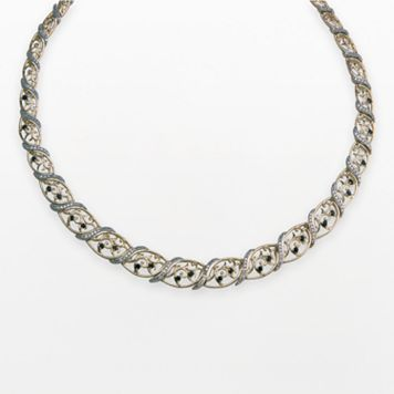 18k Gold Over Silver Sapphire Graduated Marquise Filigree Necklace