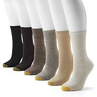 GOLDTOE® 6 pkRibbed Crew Socks