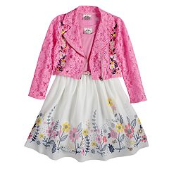 Girls 4-6x Knitworks Floral Embroidered Moto Jacket & Sleeveless Babydoll Dress