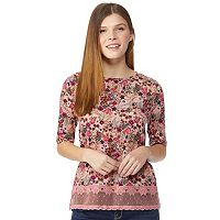 Juniors' Wallflower Lace Hem Top