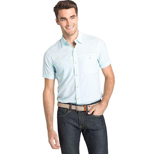 Men's IZOD Classic-Fit Slubbed Chambray Woven Button-Down Shirt