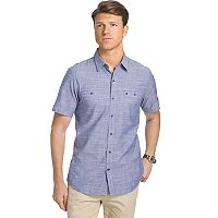 Men's IZOD Classic-Fit Slubbed Chambray Woven Button-Down Shirt