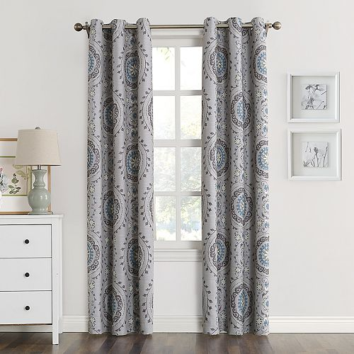 grommet print medallion curtain window pair curtains panels