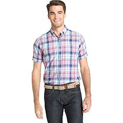 Men's IZOD Classic-Fit Essential Plaid Chambray Woven Button-Down Shirt