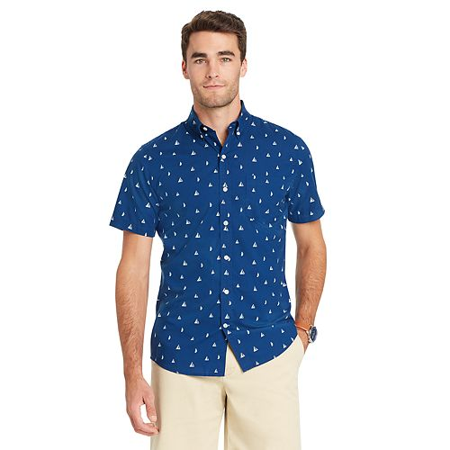 Men 39 s izod coolfx classic fit boat moisture wicking button for Moisture wicking button down shirts