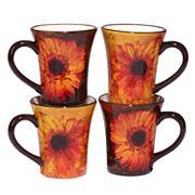 Certified International Gerber Daisy 4 pc Mug Set