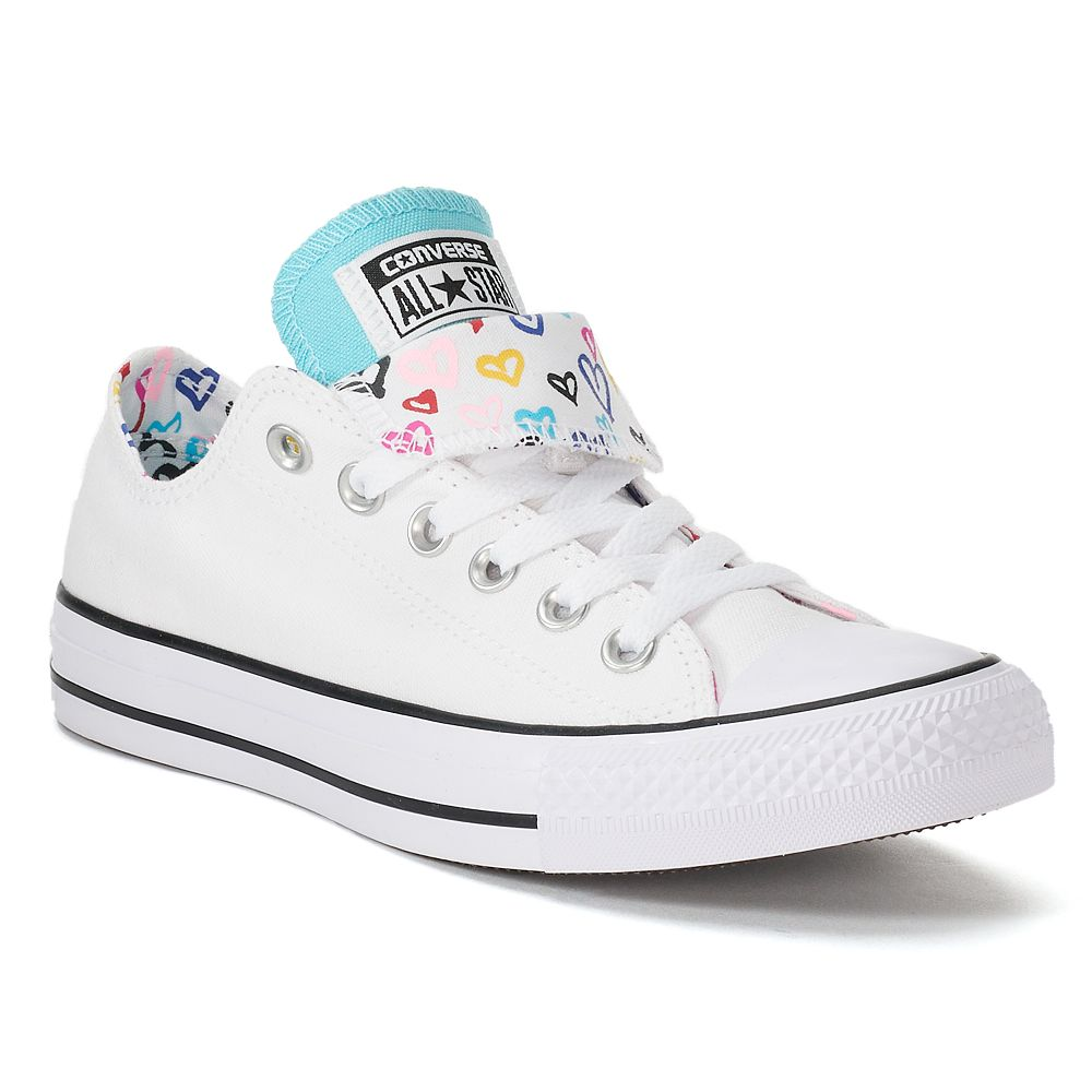 c4fca0b357804b Women s Converse Chuck Taylor All Star Double Tongue Heart Print Sneakers