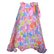 Girls 4-6x Bonnie Jean Watercolor Heart Chiffon Dress