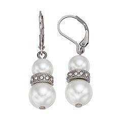 Simply Vera Vera Wang Simulated Pearl Nickel Free Double Drop Earrings