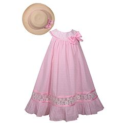 Girls 4-6x Bonnie Jean Dot Trapeze Dress & Matching Hat Set