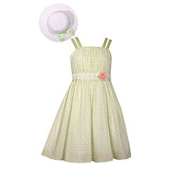 Girls 4-6x Bonnie Jean Pastel Dot Easter Dress & Matching Hat Set