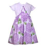 Girls 4-6x Bonnie Jean Hydrangea Print Dress & Cardigan Set