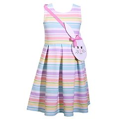 Girls 4-6x Bonnie Jean Striped Dress & Bunny Purse Set