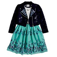 Girls 4-6x Knitworks Butterfly Embroidered Moto Jacket & Sleeveless Babydoll Dress