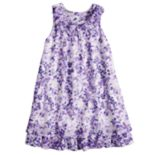 Girls 4-6x Blueberi Boulevard Watercolor Floral Chiffon Dress