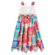 Girls 4-6x Blueberi Boulevard Crochet Patchwork Handkerchief-Hem Sundress