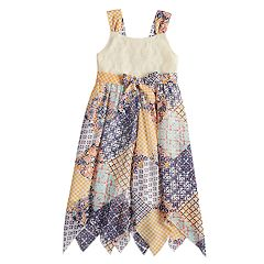 Girls 4-6x Blueberi Boulevard Crochet Handkerchief-Hem Sundress
