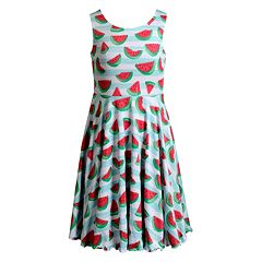 Girls 7-16 Emily West Watermelon & Striped Reversible Dress