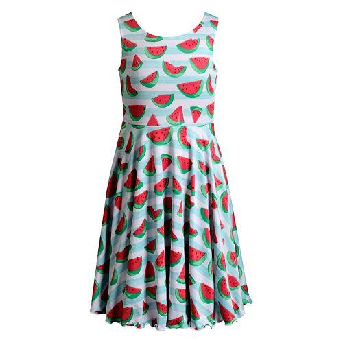 Girls 7-16 Emily West Watermelon & Striped Reversible Dress