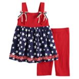 Girls 4-6x Blueberi Boulevard Americana Tunic & Bermuda Leggings Set
