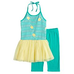 Girls 4-6x Blueberi Boulevard Pineapple Tutu Dress & Capri Leggings Set