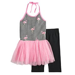 Girls 4-6x Blueberi Boulevard Flamingo Tutu Dress & Capri Leggings Set