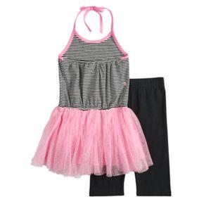 Girls 4-6x Blueberi Boulevard Flamingo Tutu Dress & Capri Leggings Set