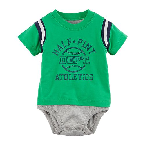 "Baby Boy Carter's Double Layer ""Half Pint Dept. Athletics"" Graphic Bodysuit"