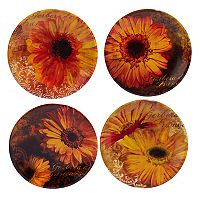 Certified International Gerber Daisy 4-pc. Canape Plate Set