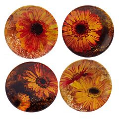 Certified International Gerber Daisy 4 pc Canape Plate Set
