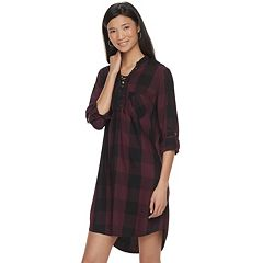 Women's Rock & Republic® Plaid Lace-Up Shirtdress