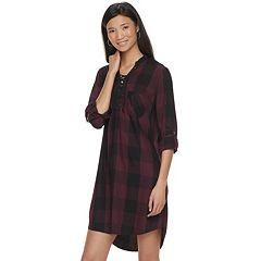 Women's Rock & Republic® Plaid Lace-Up Shirtdress