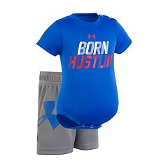 Baby Boy Under Armour 'Born Hustlin' Graphic Bodysuit & Shorts Set