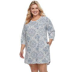 Plus Size Croft & Barrow® Pajamas: 3/4-Sleeve Sleepshirt