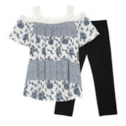 Girls 7-16 IZ Amy Byer Cold Shoulder Crochet Trimmed Tunic Top & Legging Set