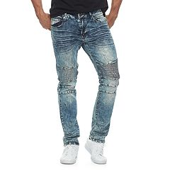 Men's RawX Slim-Fit Moto Faded Stretch Jeans