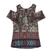 Girls 7-16 IZ Amy Byer Cold Shoulder Brushed Knit Print Top with Necklace