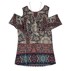 Girls 7-16 IZ Amy Byer Cold Shoulder Brushed Knit Print Top with Necklace