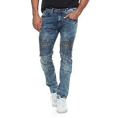 Men's RawX Slim-Fit Embossed Moto Jeans