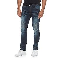 Men's RawX Slim-Fit Moto Stretch Whiskered Jeans