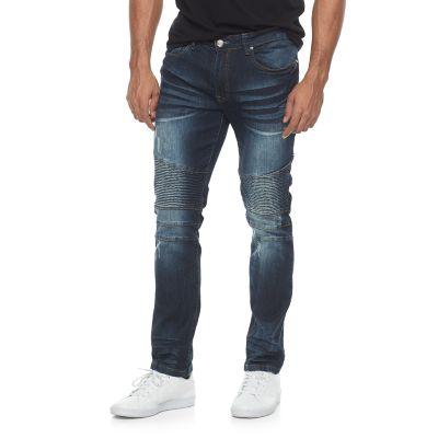 Men's RawX Slim-Fit Moto Stretch Whiskered Jeans