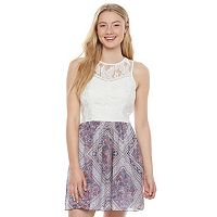 Juniors' Speechless Lace Print Skater Dress