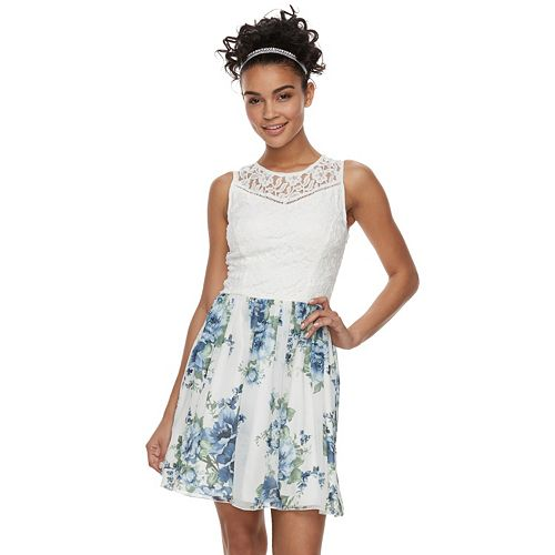 Juniors' Speechless Lace Print Skater Dress