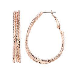 Textured Nickel Free Triple U-Hoop Earrings