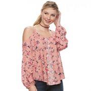 Juniors' Rewind Floral Embroidered Cold-Shoulder Top