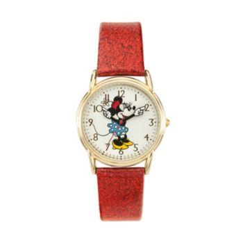 Disney's Minnie Mouse Women's Glitter Leather Watch