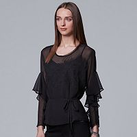 Women's Simply Vera Vera Wang Embroidered Flounce Top